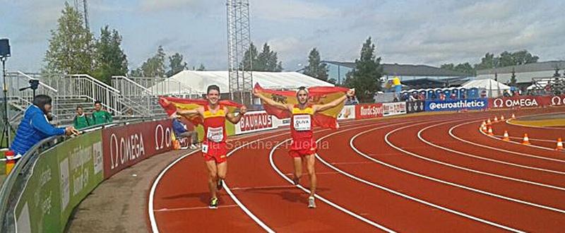 Diego García y Pablo Oliva, celebrando el oro y el bronce. Fuente: Lidia Sánchez-Puebla