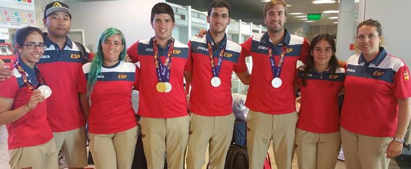 La selección española de tiro con arco en los Juegos Europeos de Bakú. Fuente: FETA