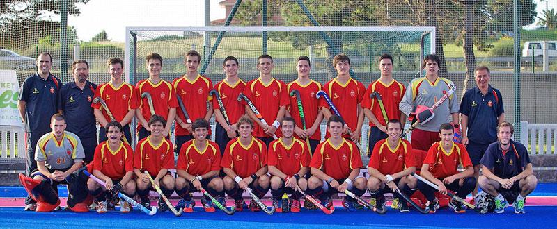 La selección española masculina de hockey hierba durante un campeonato. Fuente: Rfeh