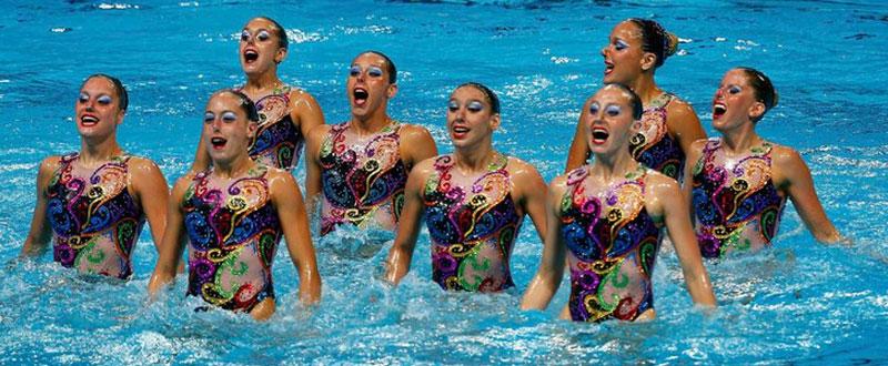 El equipo español de natación sincronizada. Fuente: AD