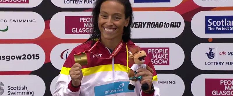 Teresa Perales con su primer oro mundialista. Fuente: AD