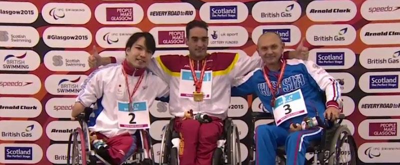 Miguel Luque con la medalla de oro en . Fuente AD