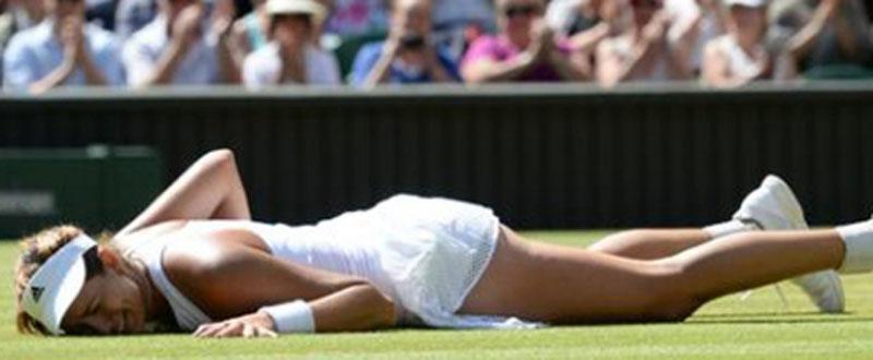 Garbiñe Muguruza tras ganar el partido de semifinales y pasar a la final de Wimbledon. Fuente: Rfet