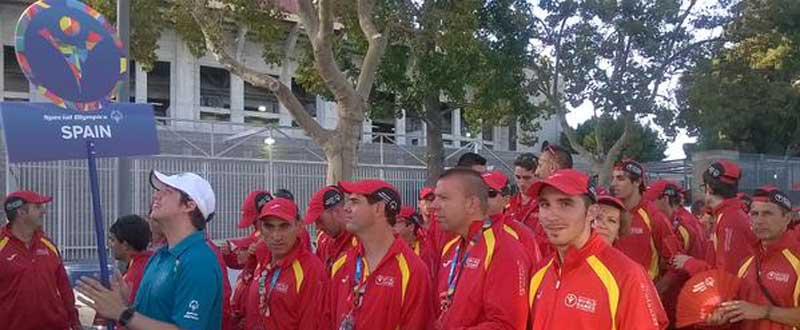 Parte de la delegación española antes de iniciar el desfile en la Ceremonia Inaugural de los Special Olympics. Fuente: