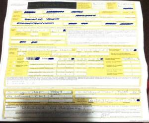 Formulario de recogida de muestras relleno por dos alemanes: por los agentes alemanes Helmunt y Hildegart Pabst. Fuente: AD