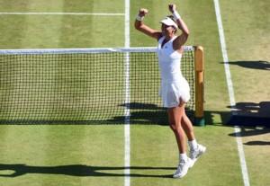 Garbiñe Muguruza durante uno de los partidos en Wimbledon. Fuente: Rfet