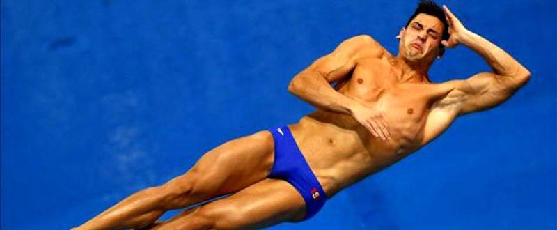 El saltador de trampolín, Javier Illana, durante una prueba. Fuente: RFEN
