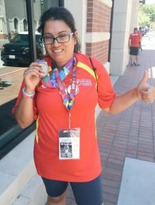 La atleta Dolores Giménez, plata en 50 metros. Fuente: @SpecialOlympESP.