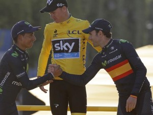 Froome, Quintana y Valverde en el podio del Tour.