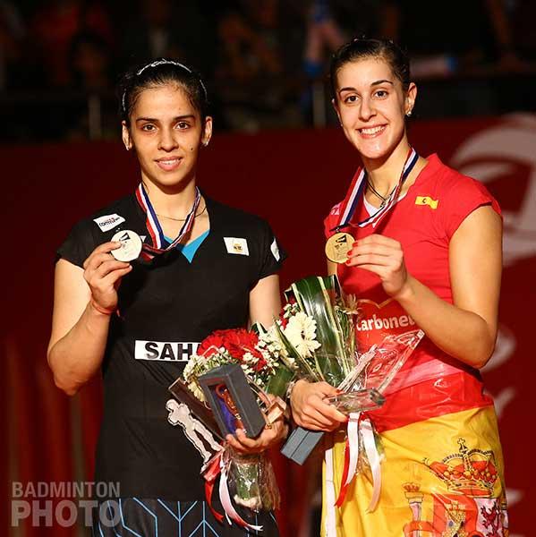 Saina y Carolina Marín. Fuente: www.badmintonwire.net