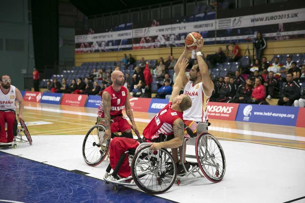 España y Polonia en el Europeo de basket en silla 2015. Fuente: CPE