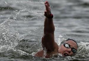 Marga Domínguez durante los 25km de aguas abiertas en Kazán. Fuente: Rfen