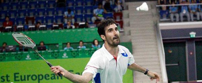 El jugador de bádminton, Pablo Abián. durante los Juegos Europeos de Baku. Fuente: COE