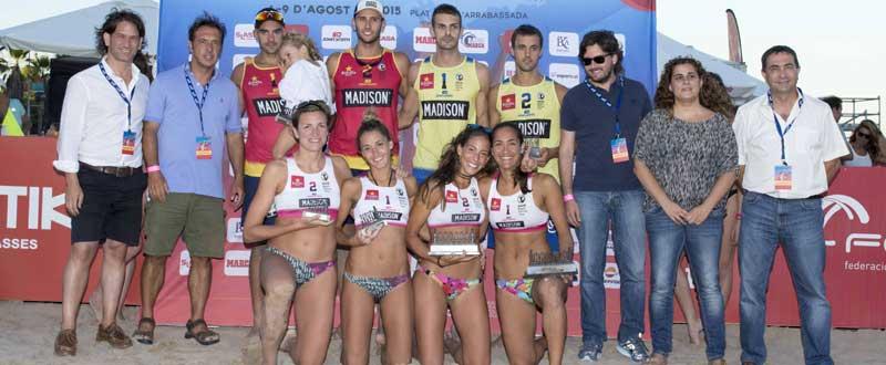 Los ganadores y finalistas de los Internacionales Ciudad de Tarragona. Fuente: Beach Volley Tour.