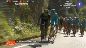 Momento en el que ha atacado Nairo Quintana, a falta de 10 kilómetros. Imágenes: RTVE