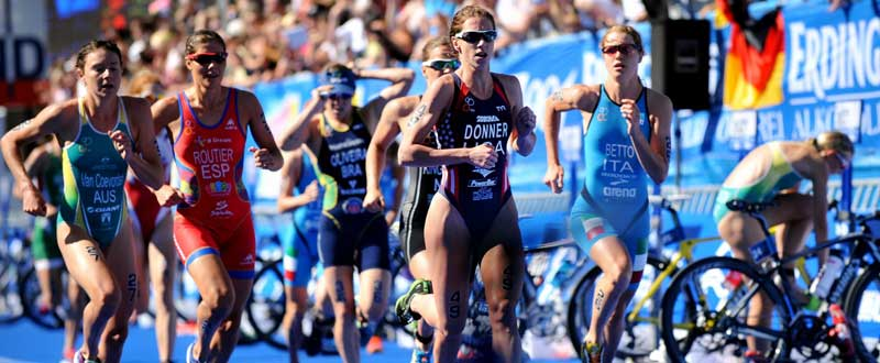 Carolina Routier, a pesar de un buen inicio, no ha podido aguantar en la carrera a pie. Fuente: ITU Media.
