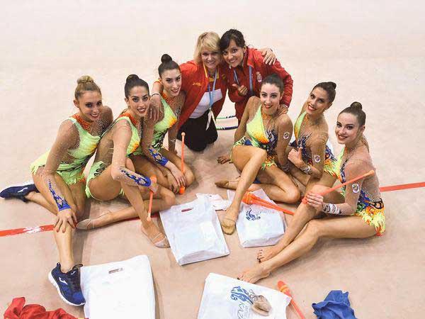 Conjunto español de gimnasia rítmica. Fuente: AD