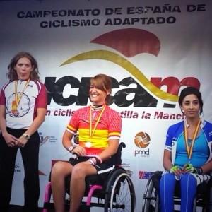Eva se proclamó en mayo campeona de España de ciclismo adaptado. Fuente: AD.