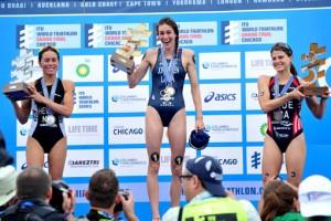 Gwen Jorgensen ha subido a lo más alto del podio. Fuente: ITU Media.
