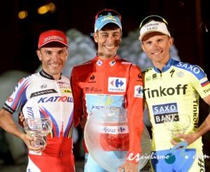 Fabio Aru, Joaquim Rodríguez y Rafal Majka. Imágenes: www.lavuelta.com