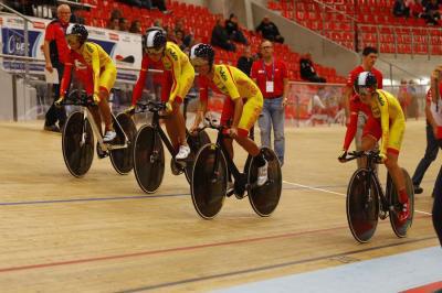 Equipo español de ciclismo en pista. Fuente: Rfec