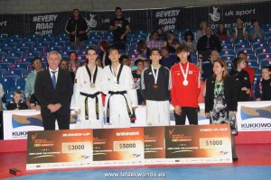 Jesús Tortosa en el podio. Fuente: Fetaekwondo