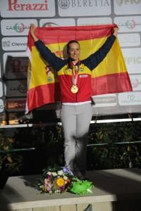 Fátima Gálvez en el podio de Lonato. Fuente: EFE.