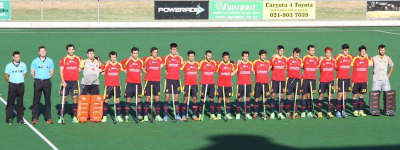 La selección española de hockey hierba durante un partido de su gira en Sudáfrica. Fuente: RFEH