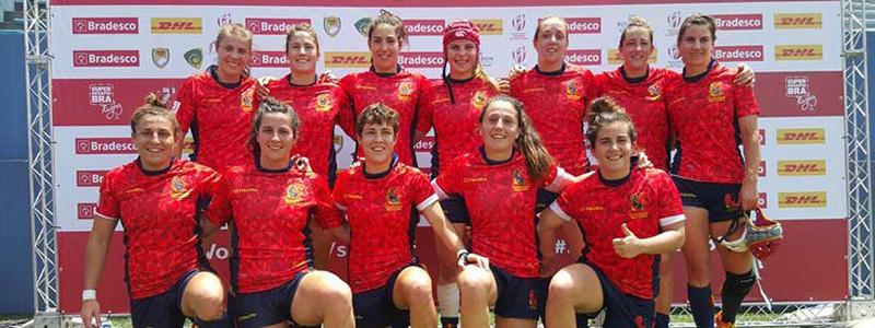 La selección española de rugby seven en el torneo de Sao Paulo. Fuente: Ferugby