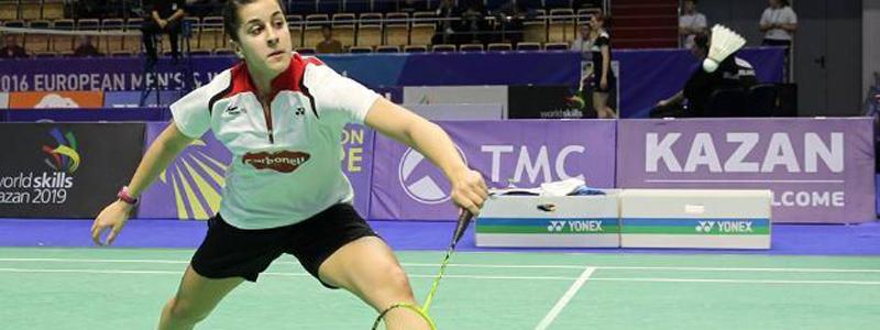 La doble campeona del mundo de bádminton, Carolina Marín durante un partido. Fuente: Badminton Europe