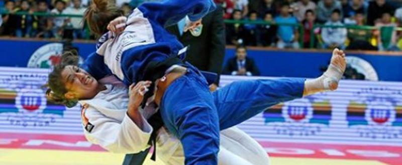 La judoca española Isabel Puche durante un combate. Fuente: Federación Internacional de Judo