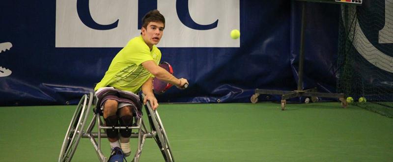 El vigués Martín de la Puente, durante un partido en el Mundial júnior de tenis en silla. Fuente: iftennis
