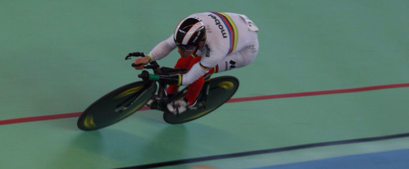 El ciclista cordobés, Alfonso Cabello, durante una prueba de kilómetro contrarreloj en el velódromo. Fuente: AD