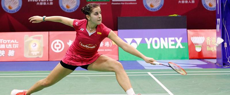 La bicampeona del mundo de bádminton, Carolina Marín, durante un partido. Fuente: Badminton Europe