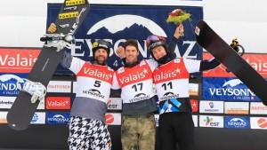 Lucas Eguíbar, en el podio. Fuente: FIS
