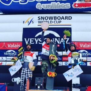 Lucas tras ganar en Suiza. Fuente: FIS