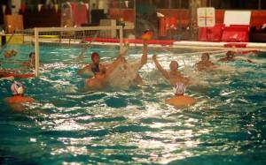 La selección de waterpolo durante un entrenamiento. Fuente: MC