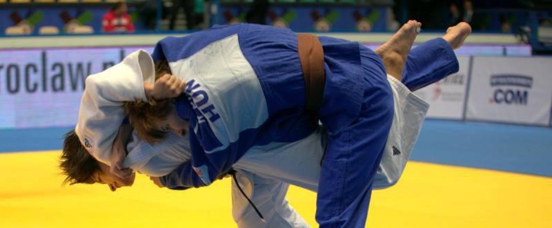 La judoca española Cinta García durante un combate.