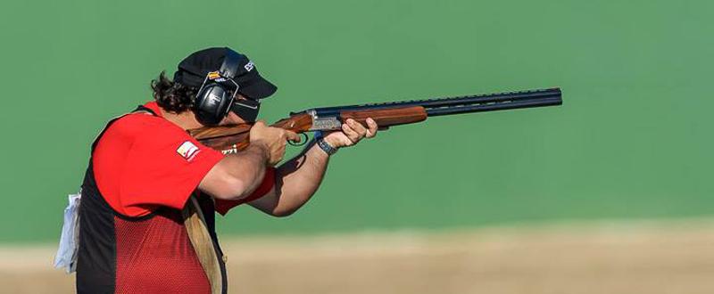 El tirador español, Alberto Fernández, durante la Copa del Mundo de foso olímpico en Río. Fuente: ISSF