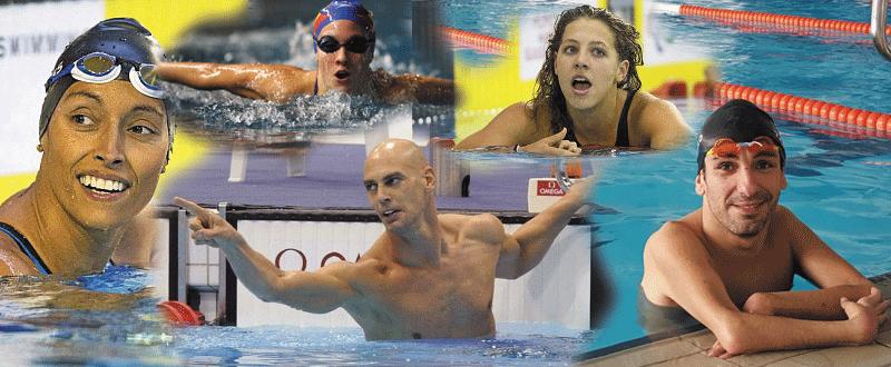 Los nadadores Teresa Perales, Sarai Gascón, Richard Oribe, Nuria Marqués y Martínez Tajuelo. Fuente: AD