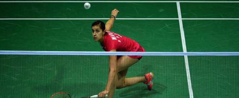 La jugadora española de bádminton, Carolina Marín, durante un partido. Fuente: badminton.es