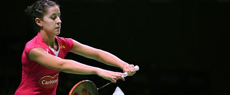 La bicampeona del mundo de bádminton, Carolina Marín, durante un partido. Fuente: badminton.es