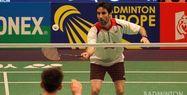 Pablo Abián durante el partido de ayer. Fuente: Badminton Europe