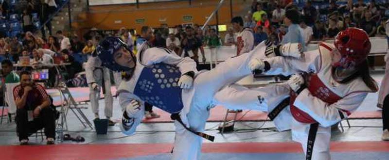 La taekwondista española Eva Calvo durante uno de sus combates en el Open de España. Fuente: Fetaekwondo