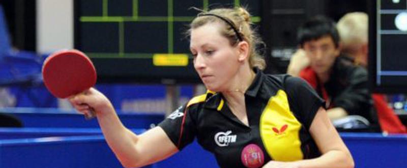 La jugadora española de tenis de mesa, Galia Dvorak, durante un partido. Fuente: RFETM