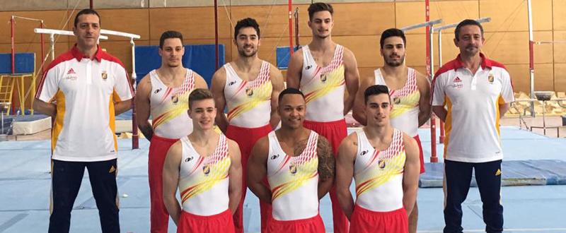 El equipo español de gimnasia artística masculina que competirá en el Preolímpico. Fuente: Rfegimnasia