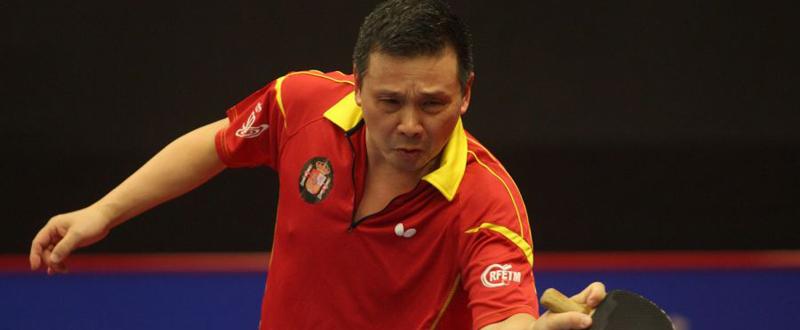 El jugador de tenis de mesa He Zhiwen 'Juanito' durante un partido. Fuente: RFETM