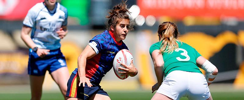 La jugadora de la selección española de rugby seven, Patricia García, en el partido ante Irlanda. Fuente: Ferugby