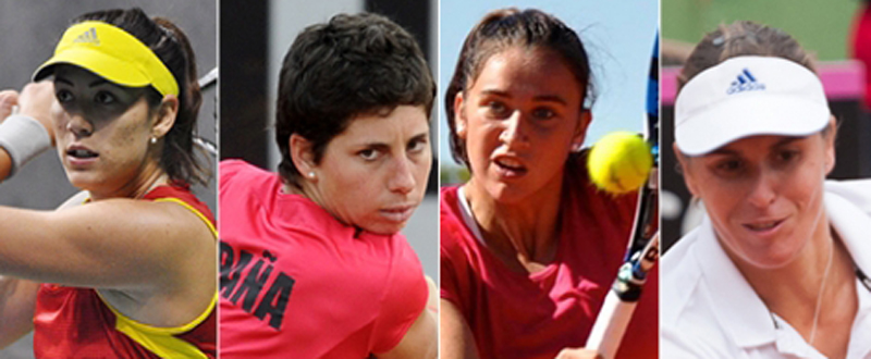 Garbiñe Muguruza, Carla Suárez, Sara Sorribes y Anabel Medina. Fuente: RFET