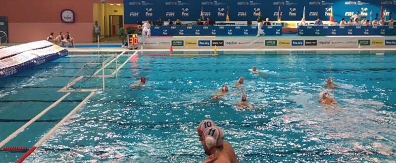 La selección española de waterpolo durante el partido frente a Kazajistán. Fuente: RFEN